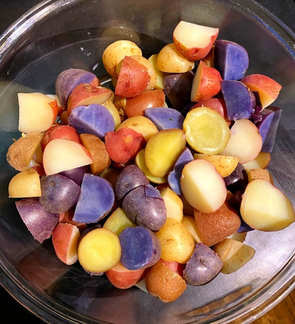 Boiled potatoes for salad in glass bowl
