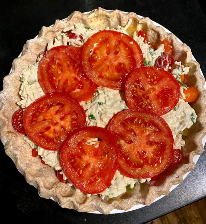 Assembled vegan tomato pie before baking