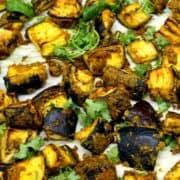 Closeup of curry roasted eggplant