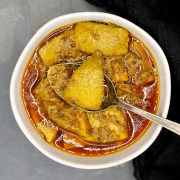Photo of a bowl of Indian lime pickle or nimbu ka achaar