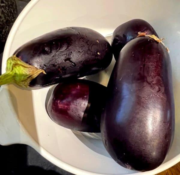 eggplants in bowl