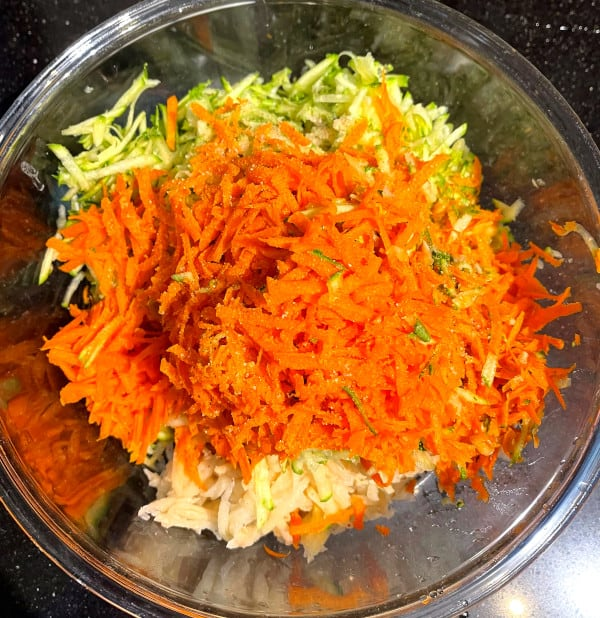 Veggies in bowl for hash browns