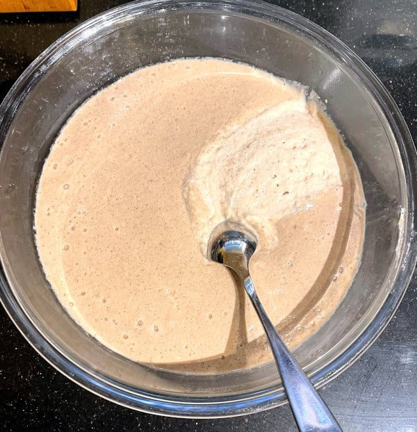 Fermented dosa batter for sorghum dosa with spoon.