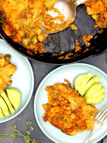 Vegan dinner bake served in two dishes and in cast iron skillet