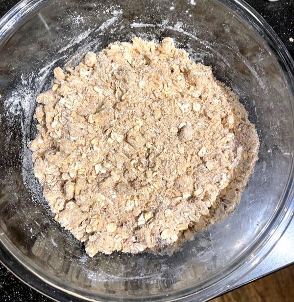 Crisp topping in bowl