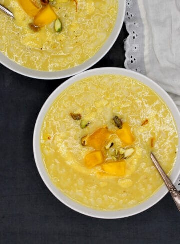 Two bowls with mango congee
