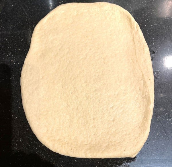 Dough rolled out to a rectangle