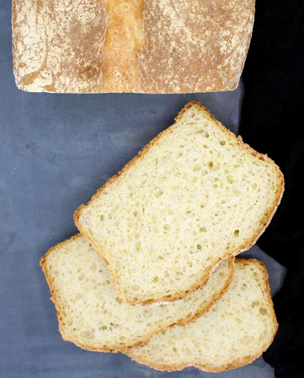 Overhead photo of sliced homemade bread.