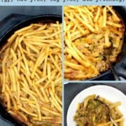 """Images of casserole with text inlay that reads """"vegan french fry casserole, gf, soy-free, nut-free, kid-friendly"""""""