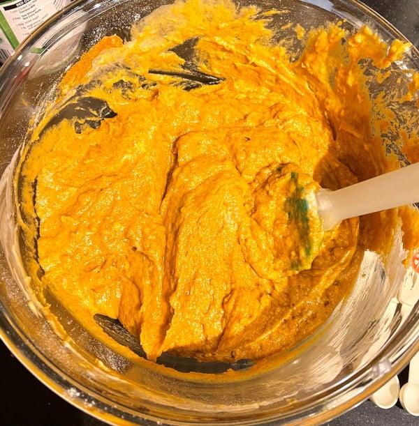 Pumpkin bread batter in bowl